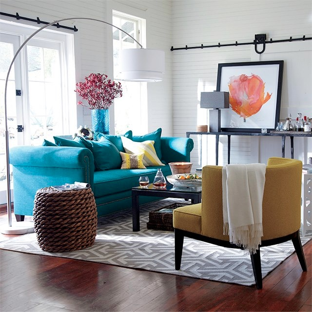 living room with brightly coloured furniture