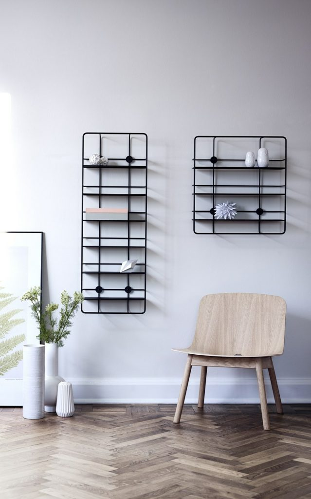 vertical storage in room with chair